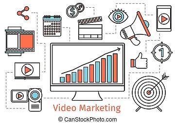 Video Marketing Strategie. Abstract Vektor sozialen Medien Konzept Hintergrund