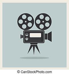 Videofilmkamera im Retro-Hintergrund.