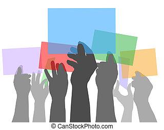 Viele Hände halten Farbräume