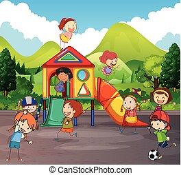 Viele Kinder spielen auf dem Spielplatz.