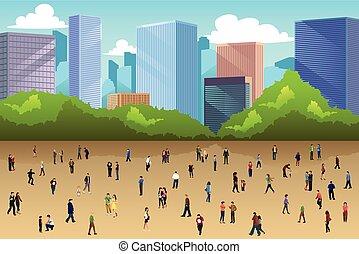Viele Leute in einem Park in der Stadt.