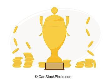 viele, nah, abbildung, groß, geldmünzen, gewinner, becher, gold