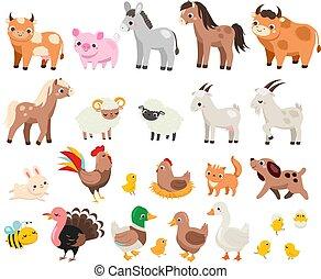 viele, reizend, children., groß, karikatur, andere, kinder, satz, schwein, haustiere, farm., kuh, tiere, bauernhof, pferd