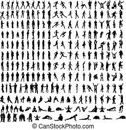Viele sehr detaillierte Silhouette, darunter Unternehmen, Tänzer, Yoga usw.
