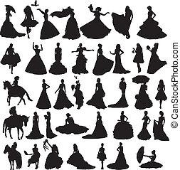 Viele Silhouetten von Bräuten in Diffe.