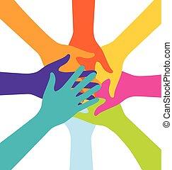 Viele Teamwork-Leute treten bunt zusammen.
