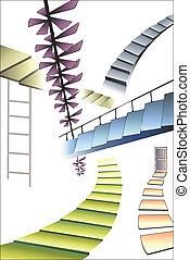 Viele verschiedene Treppen