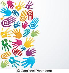 Vielfalt malt menschliche Hand