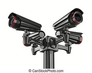 Vier Überwachungskameras im weißen Hintergrund. 3D-Bild isoliert