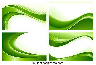 Vier abstrakte grüne Wellen Hintergrund