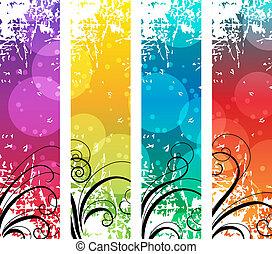 Vier abstrakte vertikale Banner