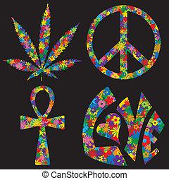 Vier Blumen füllten 60er Symbole