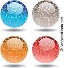 Vier bunte Globen
