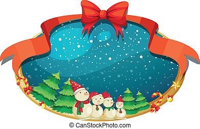 vier, dekor, schneemänner, weihnachten