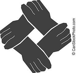 Vier Hände Teamwork