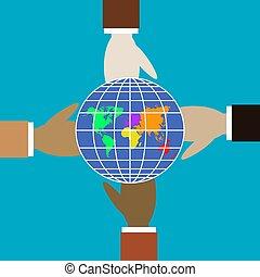 Vier Hände unterschiedlicher Farben halten den Globus.