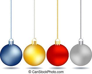 Vier hängende Weihnachtsfiguren