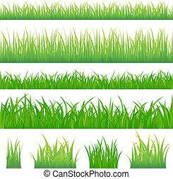 Vier Hintergründe mit grünem Gras und vier Tuft Gras