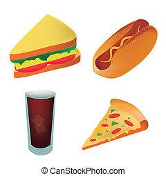 Vier Ikonen Fastfood repräsentieren einen Pizza-Sandwich-Hot Dog und einen kalten Drink