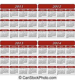 Vier Jahre Kalender in Rot