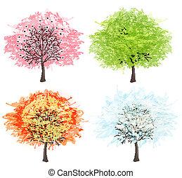 Vier Jahreszeiten - Frühling, Sommer, Herbst, Winter. Kunstbaum schön für Ihr Design. Vector Illustration.
