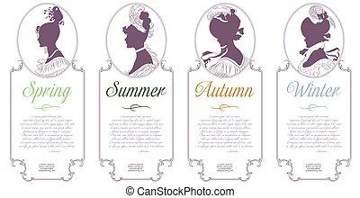 Vier Jahreszeiten. Frühling, Sommer, Herbst, Winter. Weibliches Kamo für Design