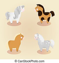 Vier kleine süße Ponys