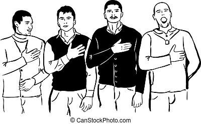 Vier Männer hören und singen ihre Nationalhymne