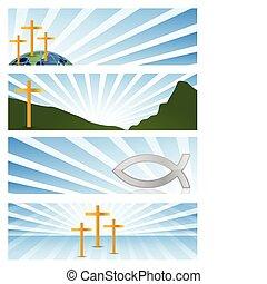 Vier Mal Religiöse Transparente