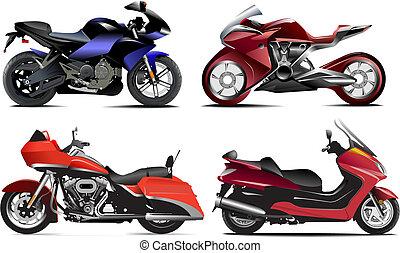 Vier moderne Motorräder. Vektor Illustration