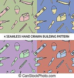 Vier nahtlose Muster mit Bauwerkzeugen.