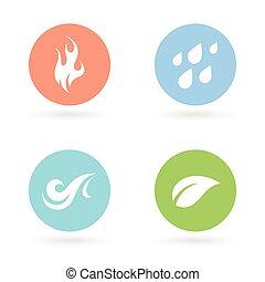 Vier Naturelemente Ikonen - Erde, Wasser, Feuer und Luft.