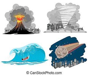 Vier Naturkatastrophen.