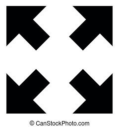 Vier Pfeile, die auf verschiedene Richtungen zeigen, von der Mitte Ikone schwarz Farbe Illustration.