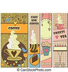Vier süße Kaffee- und Dessert-Banner