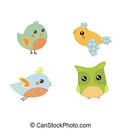 Vier süße kleine Vogelsammlung.