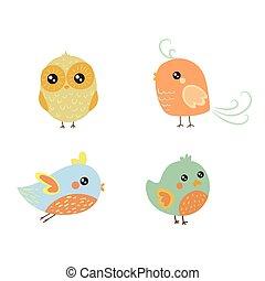 Vier süße Vogel-Küken.
