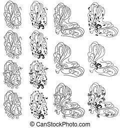 Vierzehn Blumen-Designelemente.