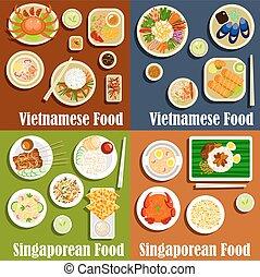 Vietnamesische und singaporeanische Gerichte