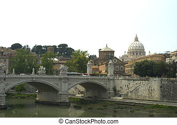 """View of vatikan and tiber river rome"