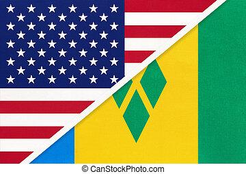 vincent, national, countries., beziehung, heilige, granatapfelliköre, usa, vs, zwei, flag., zwischen