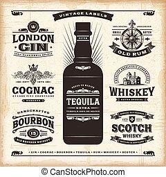Vintage Alkohol Etiketten Sammlung
