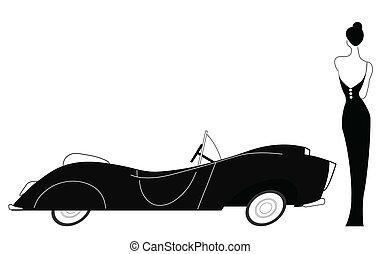 Vintage-Auto und elegante Lady