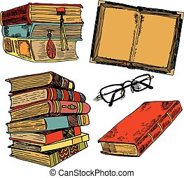 Vintage-Bücher-Farbskizze.