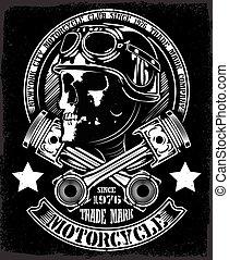 Vintage Bikerschädel mit gekreuzten Kolben emblem.