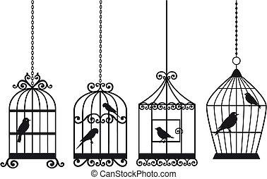 Vintage Birdcages mit Vögeln