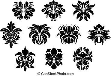 Vintage black floral design elements in damask style.
