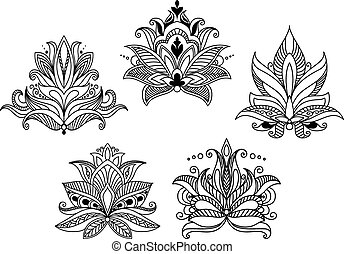 Vintage Blumenpaisley Elemente.