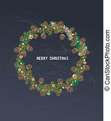 Vintage Christmas design with ring of holly.