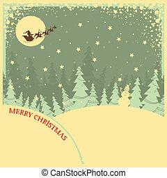Vintage Christmas Hintergrund mit Text über Nachtlandschaft.
